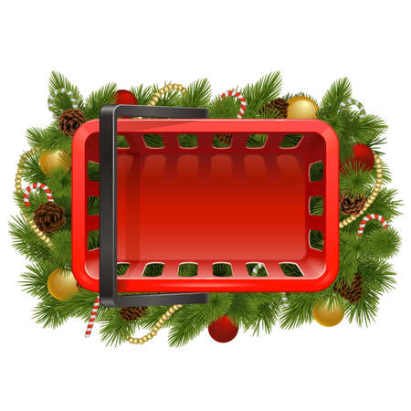 Vector Shopping Basket with Christmas Baubles isolated on white background