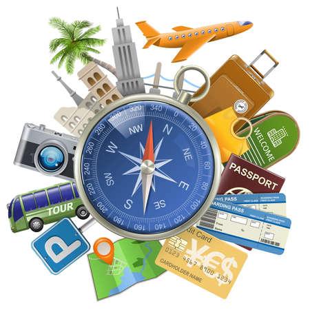 Vector Toerisme Concept met Kompas op een witte achtergrond