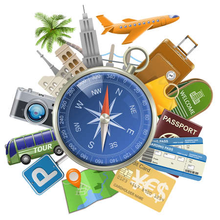 tourism: Vector Tourism Concept with Compass isolated on white background