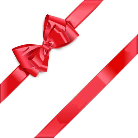 christmas bow: Vector Red Ribbon with Bow isolated on white background Illustration