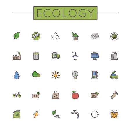 naturism: Vector Colored Ecology Line Icons isolated on white background