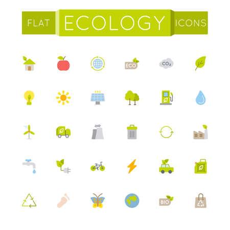 Vector Flat Ecology Icons isolated on white background Illustration