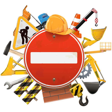 taper: Vector Construction Concept with Red Sign isolated on white background