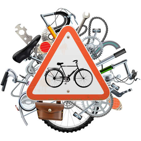 spares: Vector Bicycle Spares Concept with Triangle Sign isolated on white background Illustration