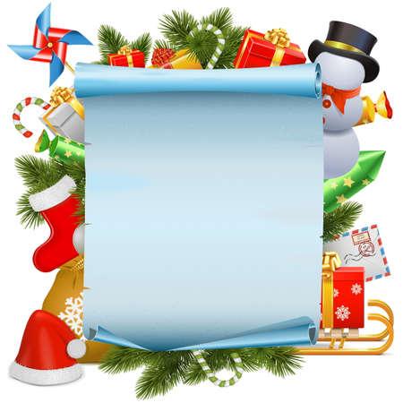 schriftrolle: Vector Christmas Scroll isoliert auf weißem Hintergrund