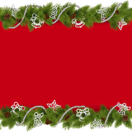 red christmas background: Vector Christmas Border with Beads isolated on white background