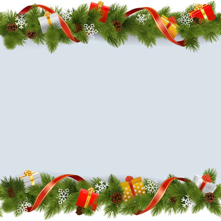 pine decoration: Vector Christmas Border with Gifts isolated on white background