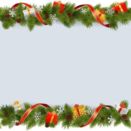 Vector Kerst Grens met cadeaus op een witte achtergrond
