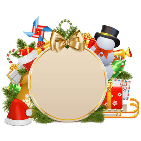 christmas concept: Vector Christmas Concept with Baubles isolated on white background Illustration