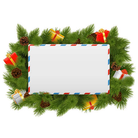 postcard background: Vector Christmas Postcard isolated on white background