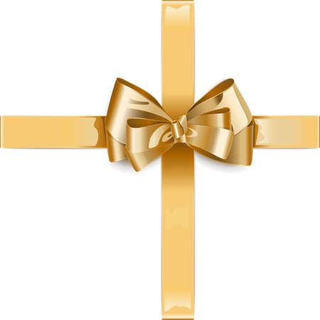 白い背景で隔離の弓でベクトル ゴールデン リボン