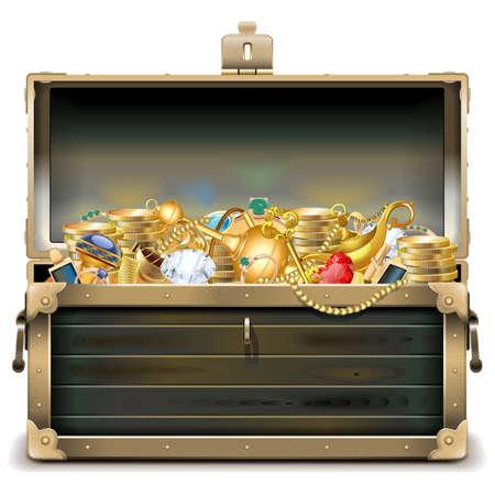 Vector Alter hölzerner Kasten mit Gold isoliert auf weißem Hintergrund