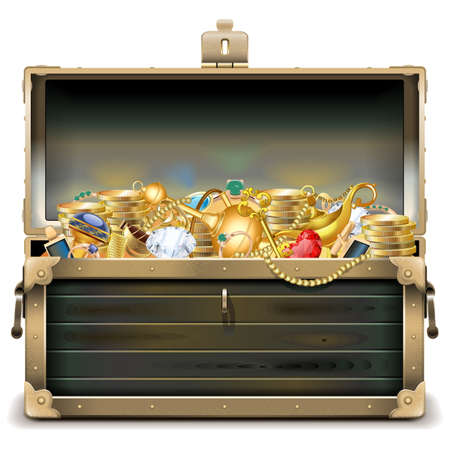 pirate treasure: Vector Old Wooden Chest with Gold isolated on white background