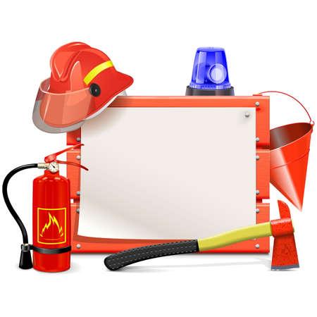 bombero de rojo: Junta Bombero del vector aislado en el fondo blanco