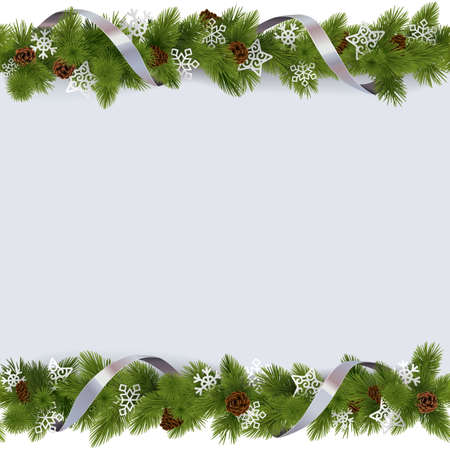 christmas baubles: Vector Christmas Border with Snowflakes isolated on white background