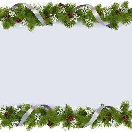 cintas  navide�as: Vector frontera de la Navidad con copos de nieve aisladas sobre fondo blanco