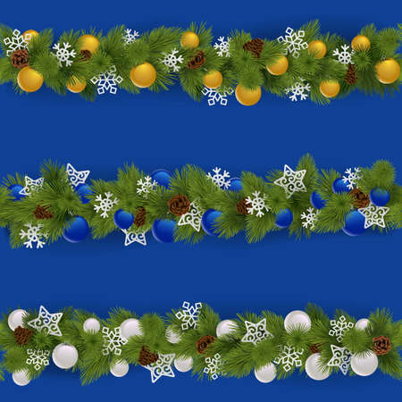 Vector Christmas Borders Set 2 isolated on blue background