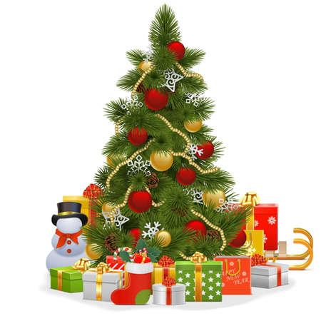 boom: Vector Kerstboom met sneeuwvlokken op een witte achtergrond