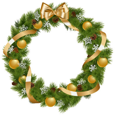 pine decoration: Vector Christmas Wreath with Golden Decorations isolated on white background