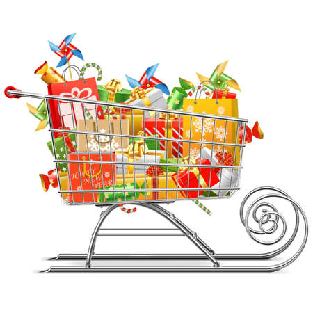 supermarket trolley: Vector Supermarket Sleigh with Gifts isolated on white background