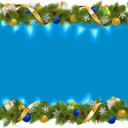 christmas baubles: Vector Blue Christmas Border with Garland isolated on white background