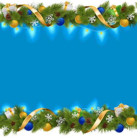 joyeux noel: Vector Border Blue Noël avec Garland isolé sur fond blanc