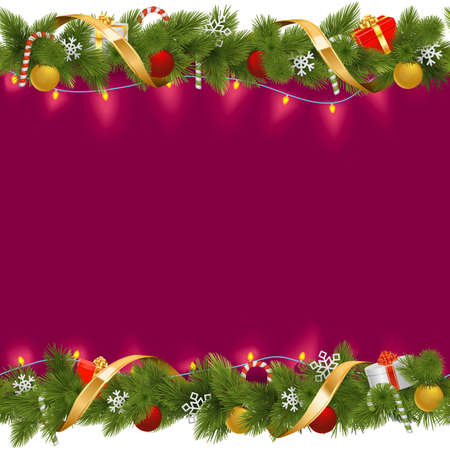 christmas garland: Vector Christmas Border with Garland isolated on white background Illustration