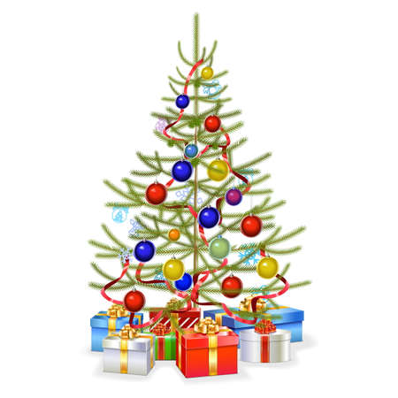 tree decorations: Vector Christmas Fir with Gifts isolated on white background Illustration