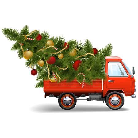 Vector Red Christmas Truck op een witte achtergrond