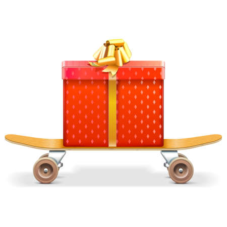 raiser: Vector Skateboard with Gift isolated on white background