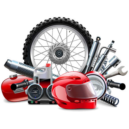 Vector Motorcycle Spares Concept isolated on white background Ilustracja