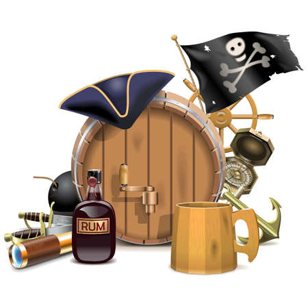 cocked hat: Vector Pirate Bar Concept isolated on white background