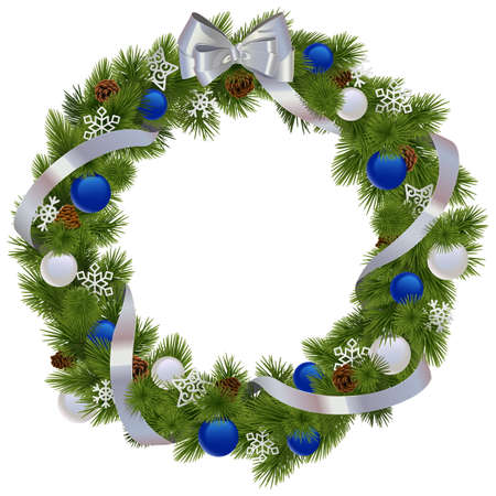 Vector Christmas Wreath with Blue Decorations isolated on white background Illustration