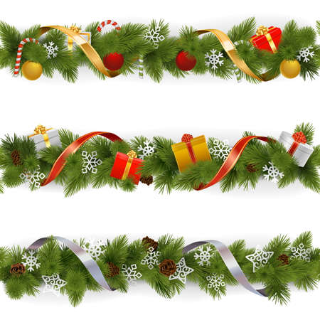 christmas baubles: Vector Christmas Border Set 3 isolated on white background