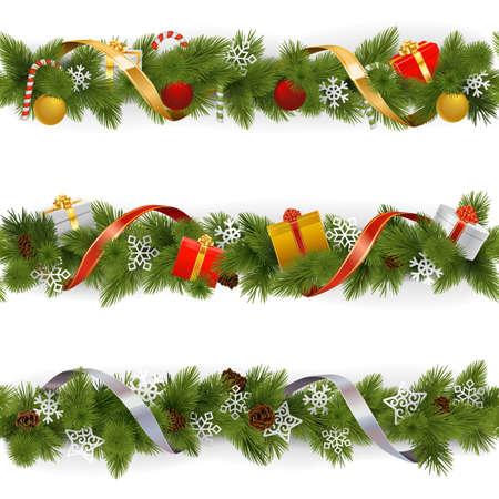 paleta de caramelo: Vector frontera de la Navidad Set 3 aislados sobre fondo blanco Vectores