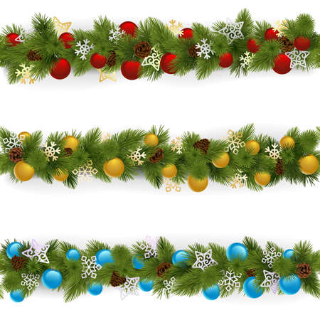 Vector Christmas Borders Set 4 isolated on white background