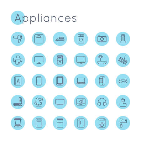 laptop mobile: Vector Round Appliances Icons isolated on white background