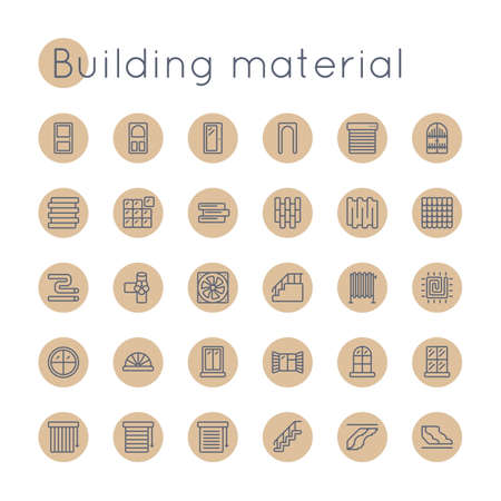 mansard: Vector Round Building Material Icons isolated on white background