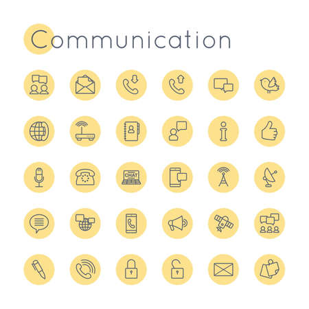 communication icons: Vector Round Communication Icons isolated on white background