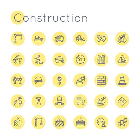 road worker: Vector Round Construction Icons isolated on white background