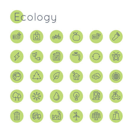 tipper: Vector Round Ecology Icons isolated on white background