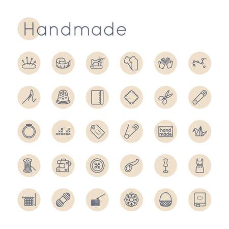 Iconos redonda hecha a mano aisladas sobre fondo blanco Ilustración de vector