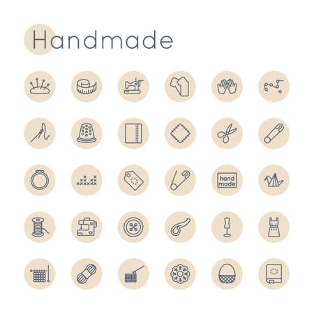 handmade: Round Handmade Icons isolated on white background Illustration