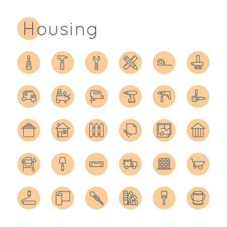 weld: Round Housing Icons isolated on white background