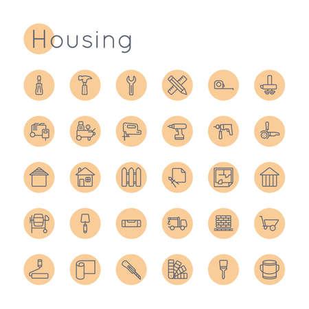 surveying: Round Housing Icons isolated on white background