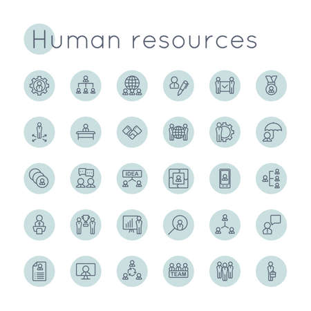 Round HR Icons isolated on white background