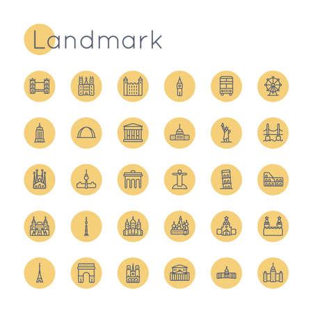 sights: Round Landmark Icons isolated on white background