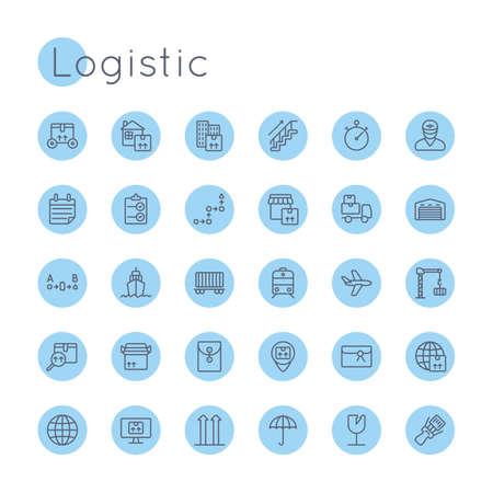 ship parcel: Vector Round Logistic Icons isolated on white background