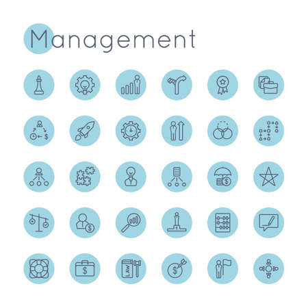 set the intention: Vector Round Management Icons isolated on white background Illustration