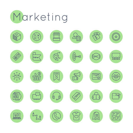 product line: Vector Round Marketing Icons isolated on white background Illustration